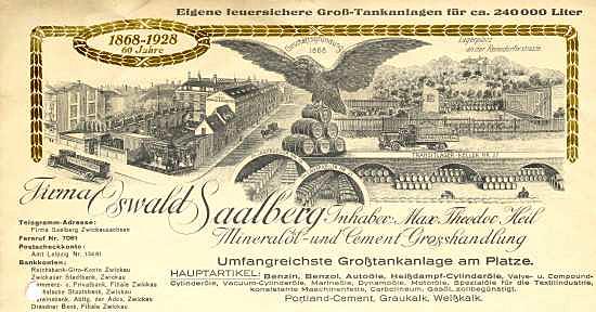 Zwickau - Oswald Saalberg. Mineralöl- und Cement-Grosshandlung. 1938