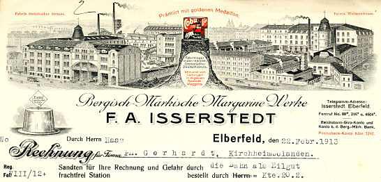 Elberfeld (Wuppertal) - F.A. Isserstedt. Bergisch-Märkische Margarine-Werke. 1913