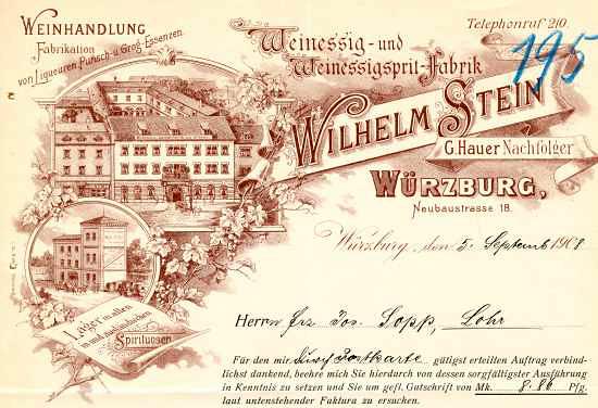 Würzburg - Wilhelm Stein. Weinessig- und Weinessigsprit-Fabrik. 1908
