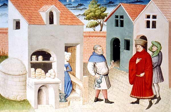 Flämische Illustration zum Dekameron, 1432 (Paris, Nationalbibliothek)