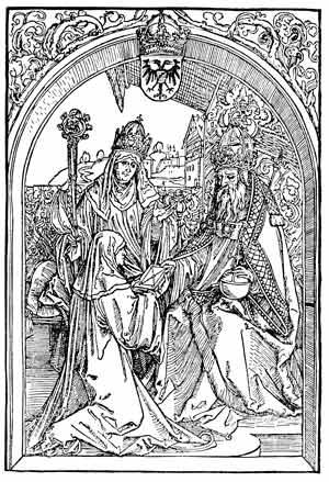 Roswitha überreicht Kaiser Otto dem Großen ihre Werke. Holzschnitt-Illustration von Albrecht Dürer in der ersten gedruckten Roswitha-Werkausgabe von Conrad Celtis aus dem Jahre 1501