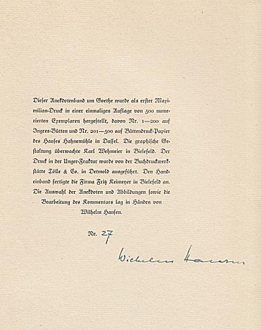 Beispiel einer Herausgeber-Signatur unter der handschriftlichen Nummerierung (Wilhelm hansen (Hrsg.): Anekdoten um Goethe (1947)