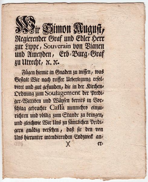 Verordnung vom 12.7.1751 des Lippischen Grafen Simon August - Erste Seite
