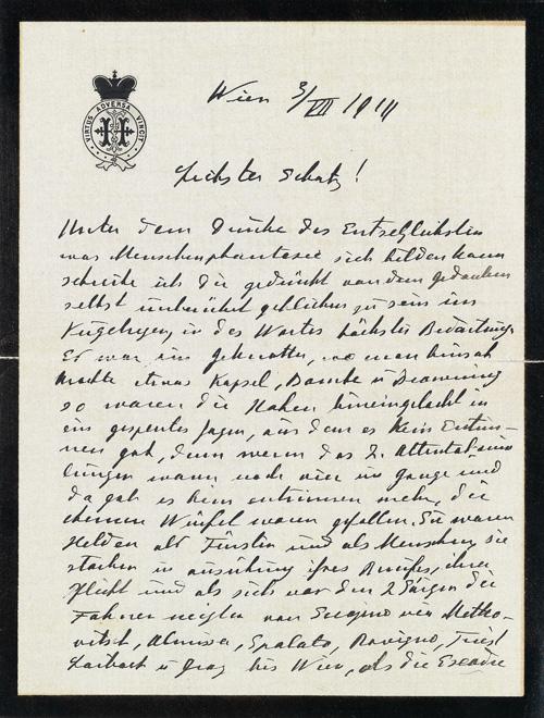 Lot Nr. 33 Franz Ferdinand, Erzherzog von Österreich-Este, Thronfolger, 1863 - 1914. Attentat in Sarajewo am 28. Juni 1914. eigenhändiger Brief mit Unterschrift des Grafen Franz Harrach, Besitzer des Automobils, in dem der Erzherzog und seine Gemahlin ermordet wurden und wichtigster Augenzeuge der Vorgänge vor, während und nach des Attentats; Wien, 3. 7. 1914, 4 Seiten, gepr. Briefkopf (Bekröntes Monogramm mit Devise), Trauerrand  Rufpreis € 3.000  Auktion 2. Juni 2013