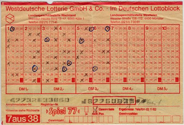 Lottoschein mit immerhin 2 x 2 Richtigen!