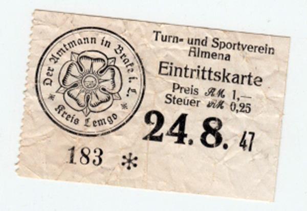Eintrittkarte des TUS Almena von 1947