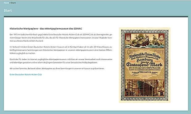 Zum eWertpapiermuseum des EDHAC - Bild anklicken!