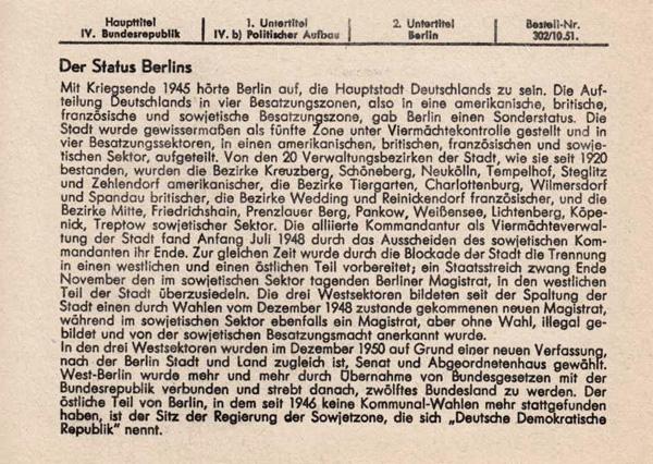 Der Status Berlins 1950 (Kartenrückseite)