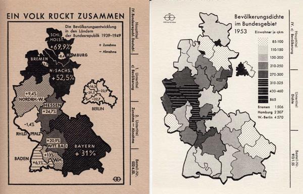Zwei Karten zur Bevölkerungsentwicklung der BRD (1950 und 1953)