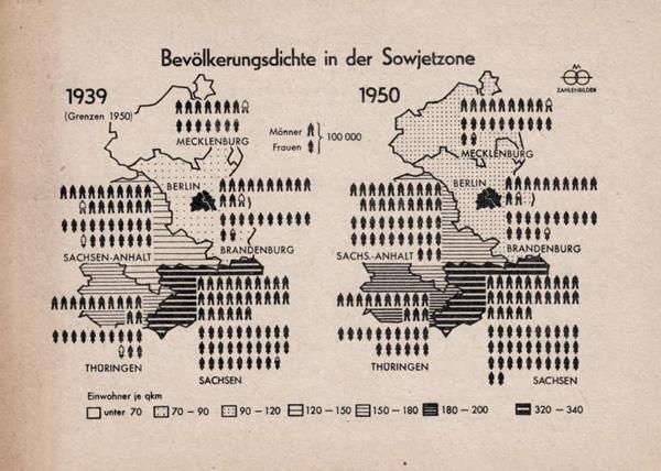 Bevölkerungsdichte in der Sowjetzone 1939 / 1950