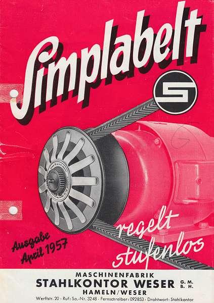 Stahlkontor Weser: Simplabelt regelt stufenlos. Prospekt vom April 1957
