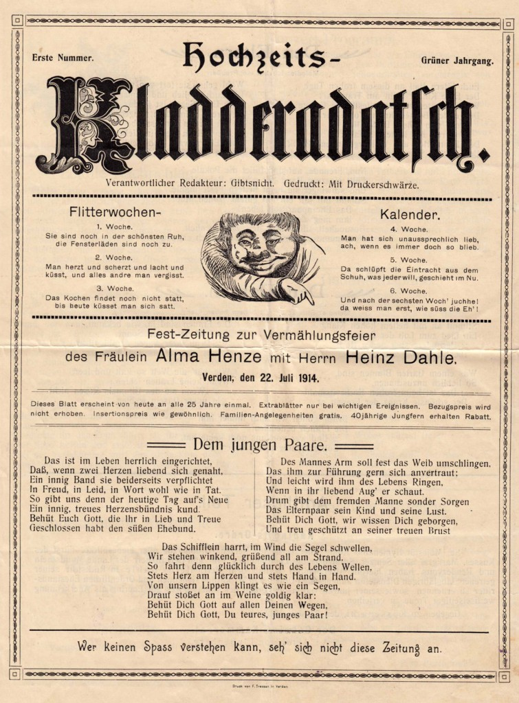 Hochzeits-Kladderadatsch von 1904 - Seite 1