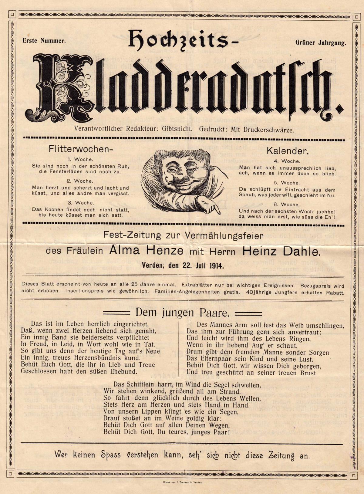 Hochzeits-Kladderadatsch vom 22. Juli 1914   BuecherSammler