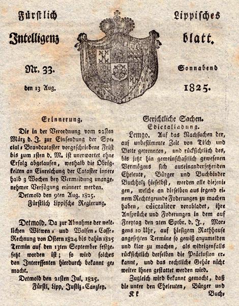 Fürstlich Lippisches Intelligenzblatt Nr. 33 vom 13. August 1825