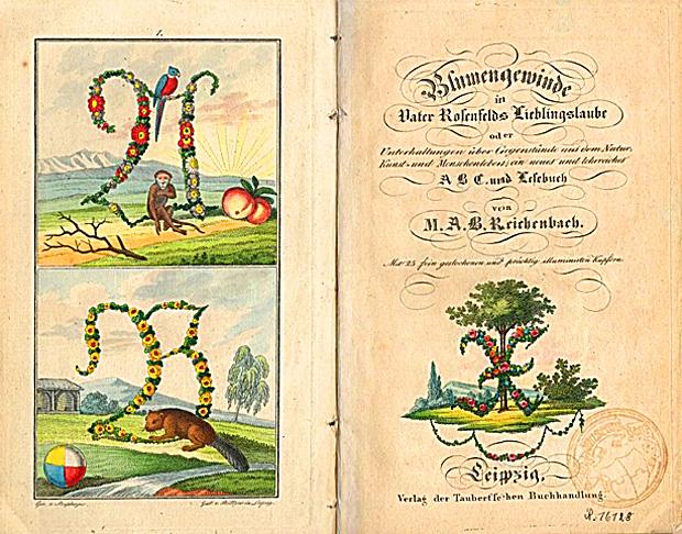Eines der schönste ABC-Bücher: Blumengewinde in Vater Rosenfelds Lieblingslaube (1830)